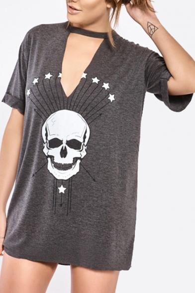 Skull Trendy Choker Hollow Out Star Dress shirt Shift Keyhole Mini Neck Leisure Printed T XrrqwCfxd