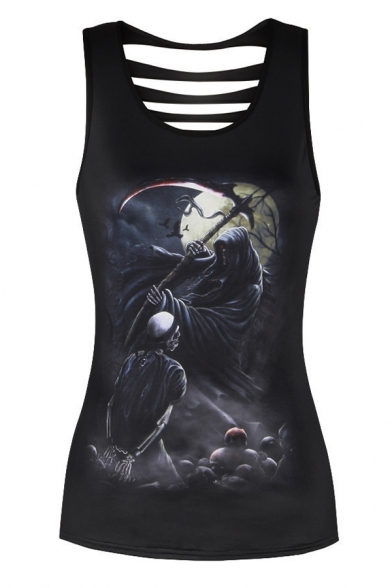 Death Scoop Skeleton Fit Neck Ladder Skull Printed Slim Back Tank Trendy Rq6dxwIfBR