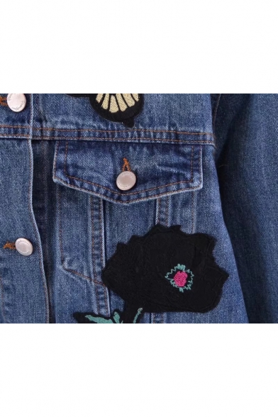 Lapel Jacket Long Sleeve Single Breasted Embroidered Floral Denim Butterfly vqwHZxF8
