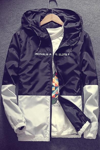 Chic Color Block Letter Print Long Sleeve Zipper Hooded Coat