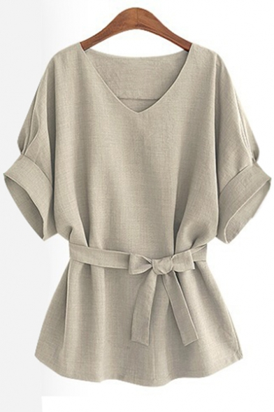 Chic Tie Waist V-Neck Batwing Short Sleeve Plain Blouse