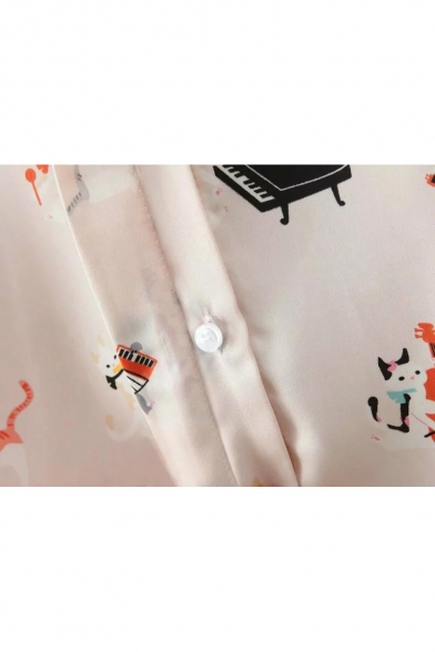 Down Pattern Cartoon Button Cute Shirt Long Shaped Collar Sleeves Cat xIIR1w8