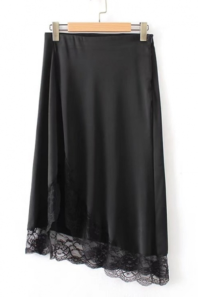 Elegant Plain Zipper Side Lace Insert High Low Hem Midi Skirt