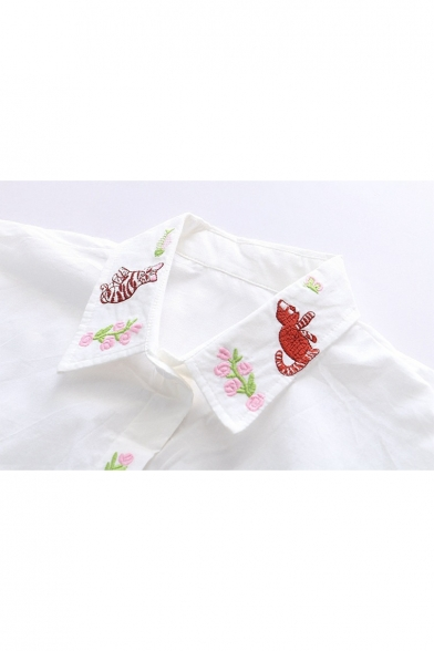 Embroidered Sleeve Lapel Cartoon Cat Long Shirt Button Fancy Down Floral RwtCW1