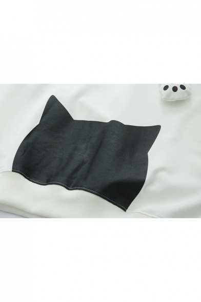 Fashionable Cartoon Japanese Print Long Sleeve Loose Hoodie