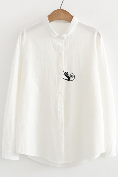 Funny Embroidery Cat Pattern Long Sleeve Lapel Button Down Shirt
