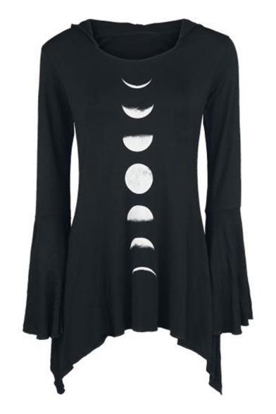 Bell Hem Asymmetrical Moon Sleeves Hooded Gothic Tee Eclipse Pattern wTxqHn