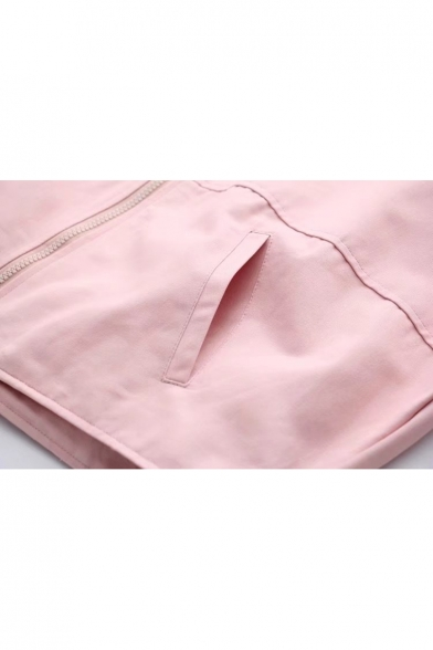 Hooded Back Letter Sleeve Flap Pocket Coat Embroidered Long Zipper 10fY41q