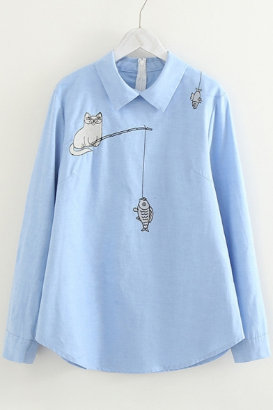 Lovely Cat Fishing Embroidered Lapel Collar Long Sleeve Blouse