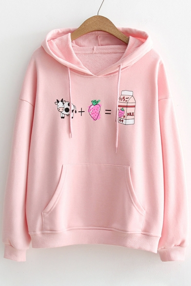 Lovely Cow Strawberry Milk Printed Long Sleeves Pullover Hoodie with Pocket