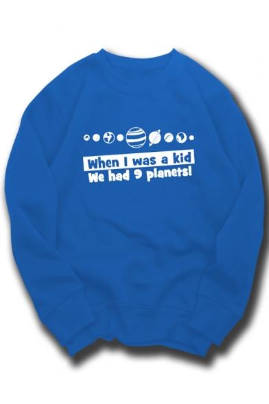 Long Sweatshirt Sleeve Fashion Pullover Print Neck New Planet Round Letter zYfq0FwZ