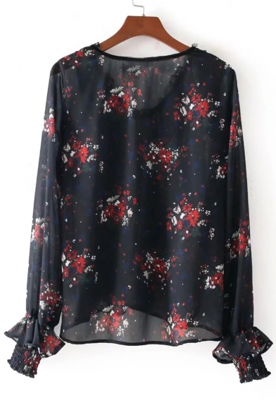 New Floral Neck Ruffle V Stylish Detail Long Blouse Print Sleeve 8q8r5