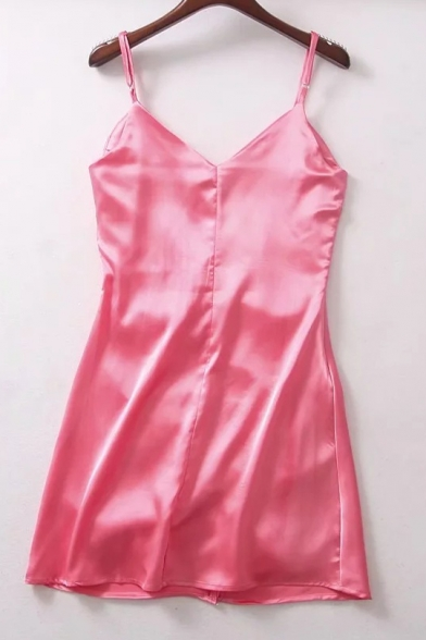 Ruched Simple Stylish New Plain Slip Front Dress U7t5nHwxq
