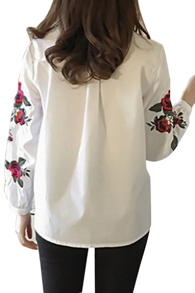 Floral Pop Button Collar Down Shirt Striped Long Sleeves Fashion Embroidered Point T5x4gq