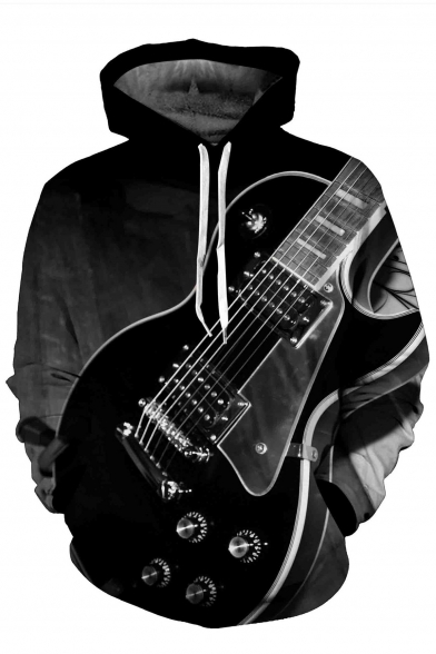 Guitar Pocket Hoodie with Monochrome Loose Pullover Sleeves Retro Long Printed zx7zwd
