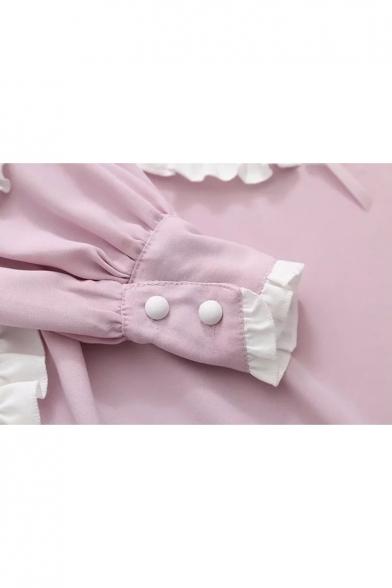 Retro Heart Ruffle Detail Peter Pan Collar Dress with Pocket