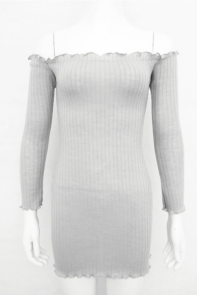 Sexy Off the Shoulder Long Sleeves Ruffle Trimmed Slim-Fit Mini Bodycon Knitted Dress