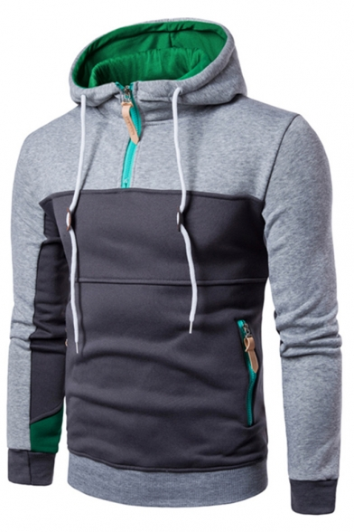 Pullover Zipped Front Trendy Long Block Pockets Zipper Hoodie Sleeves Color with 7HqwaHB