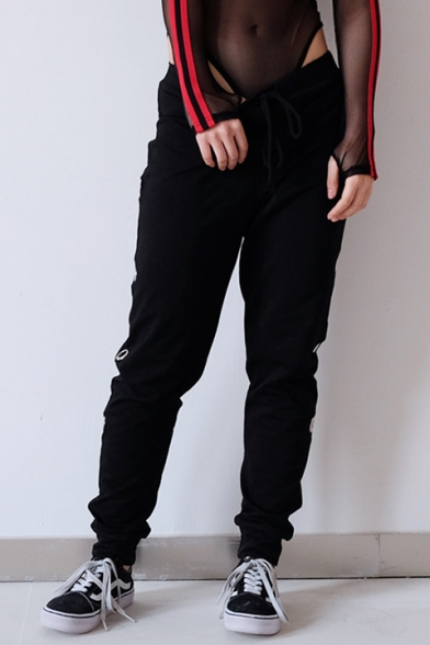 Trendy Drawstring Waist Grommet Embellished Hollow Stylish Slim Leg Pants