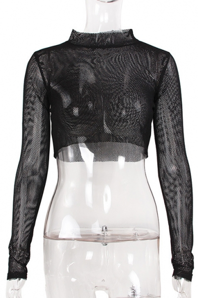 Trendy High Neck Long Sleeves Fishnet Mesh Sexy Cropped Tee