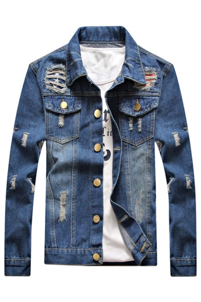 Sleeves Autumn Denim with Pockets Button Fashion Ripped Jacket Lapel Long Chest Down r0Utw0qx