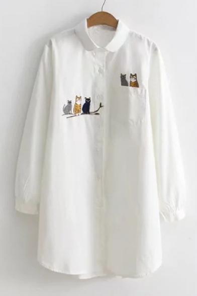 Cartoon Cat Branch Pattern Long Sleeve Lapel Single Breasted Tunic Shirt