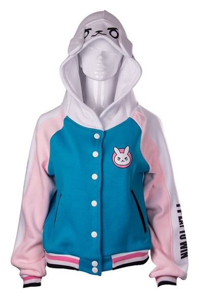 Cartoon Letter Print Long Sleeve Single Breasted Coat with Rabbit Ear Hood