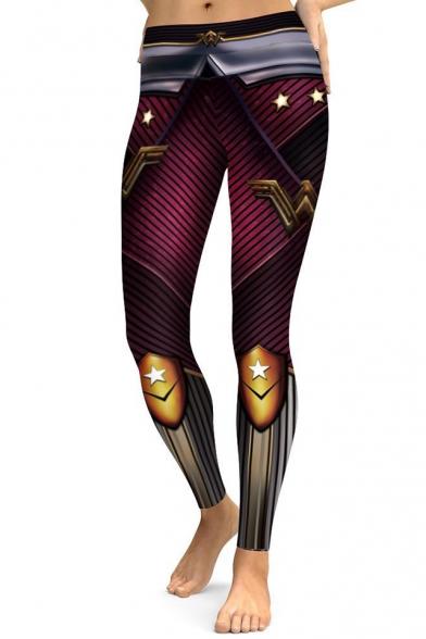 Casual Superhero Color Block Slim-Fit Elastic Waist Leggings