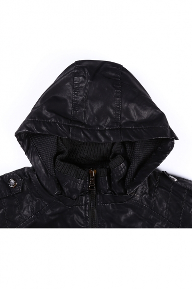 Cool Plain Faux Leather Long Sleeve Hooded Zipper Jacket