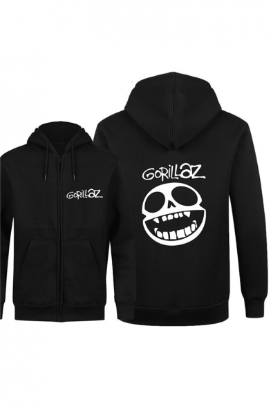 Fancy Smiling Skull Letter Printed Long Sleeves Zippered Hoodie with Pockets