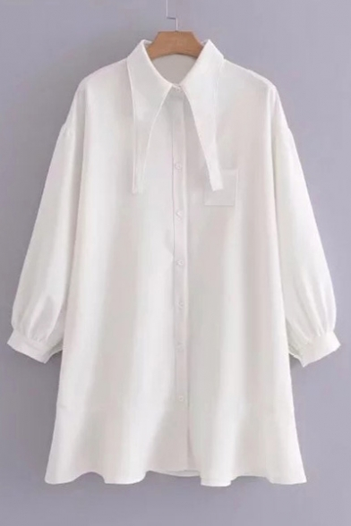 Fashion Plain Collar Button Long Sleeve Ruffle Hem Shirt Dress