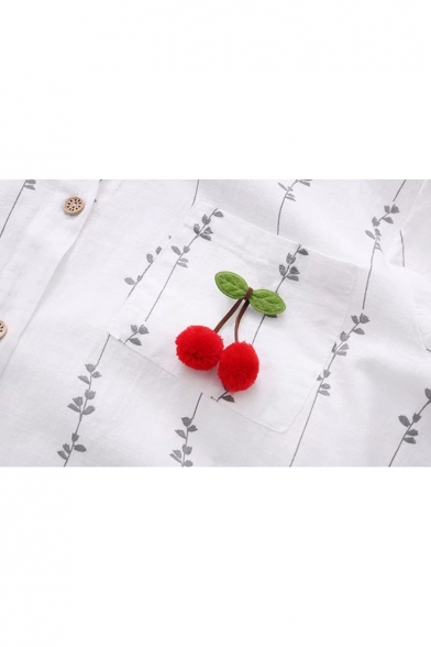 Fashion Lapel Sleeve Pom Pattern Long Leaf Pom Embroidered Shirt Cherry rOYPgrq