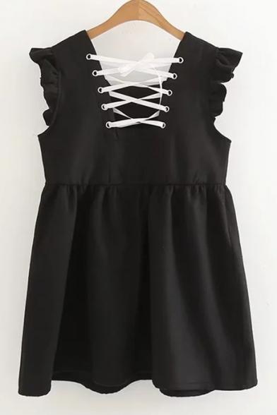 Tie Dress Ruffle Front Square Plain Fashionable Tank Neck Bow xHwqBv6g