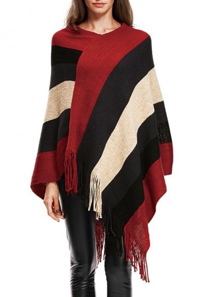 Fashionable Striped Print V-Neck Sweater Cape with Tassel Hem