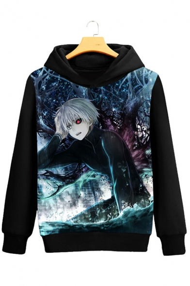 Long Fashion Leisure Cartoon Print Hot Sleeve Hoodie qZwxtSdtvR
