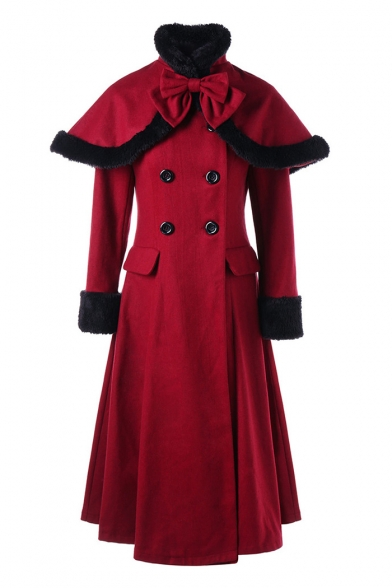 Ladylike High Neck Double Breasted Fur Trimmed Longline Coat with Bow & Cape
