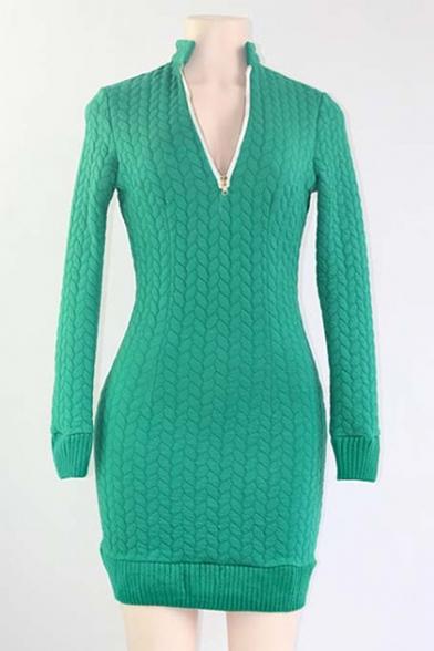New Fashion Simple Plain Long Sleeve V-Neck Mini Dress