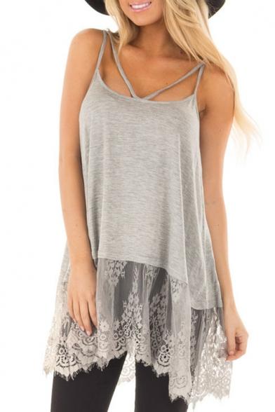 New Stylish Lace Insert Simple Plain Slip Dress
