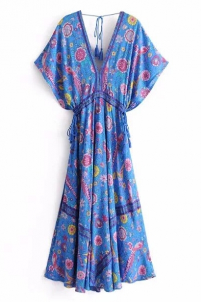 Peasant V-Neck Short Sleeves Gathered Waist Floral Printed Bow Tie Back Maxi Beach Dress