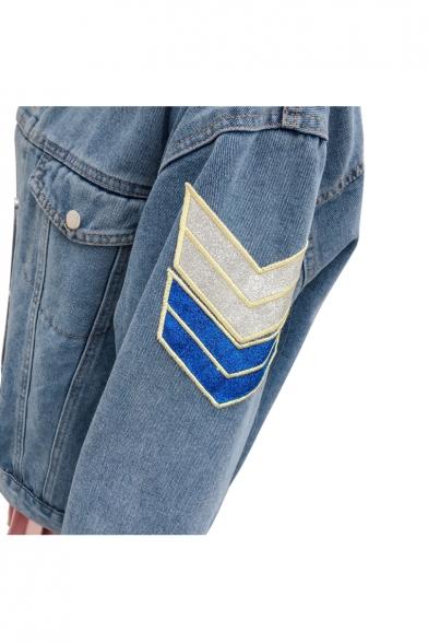 Popular Lightning Letter Face Applique Button Down Pockets Denim Jacket