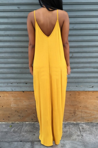 Summer Collection Low-cut Spaghetti Straps V-Back Plain Loose Maxi Cami Dress
