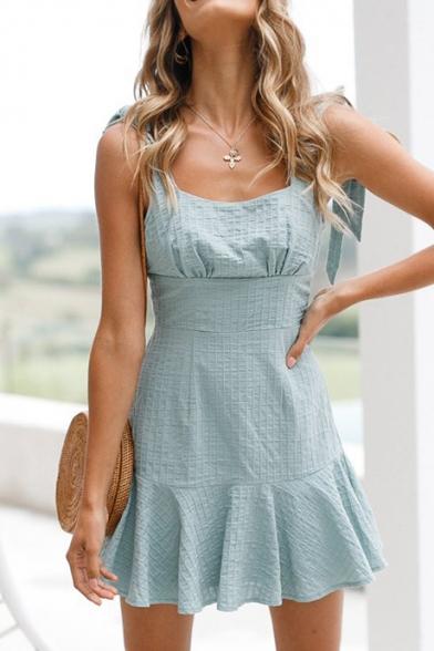 Summer Collection Spaghetti Straps Bow Peplum Hem Gathered Waist Cami Flared Mini Dress