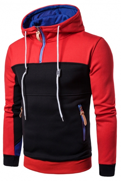 Color Front Sleeves Hoodie Zipper Pullover Zipped Long Block Pockets with Trendy dnptqXxgd