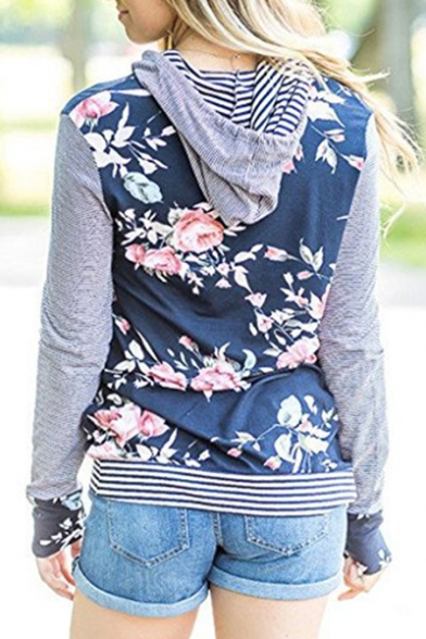 Chic Striped Floral Print Long Sleeve Casual Hoodie