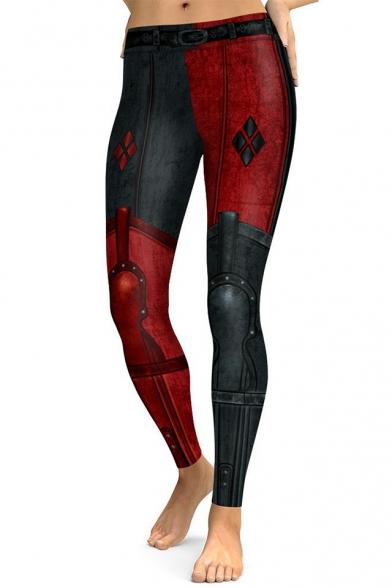 Cool Color Block Slim-Fit Elastic Waist Fashion Leggings