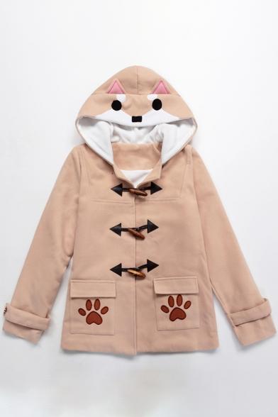 Cute Shiba Dog Cartoon Paw Pattern Single Breasted Double Pockets Hooded Winter Coat