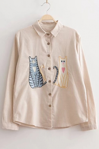 Embroidery Cartoon Cat Pattern Button Down Long Sleeve