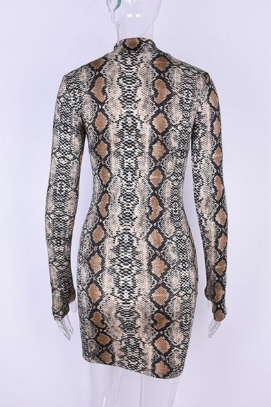 Fancy Snake Pattern High Neck Long Sleeves Mini Bodycon Dress