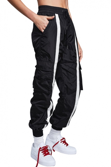 Fashion Striped Print Drawstring Waistband Sport Pants