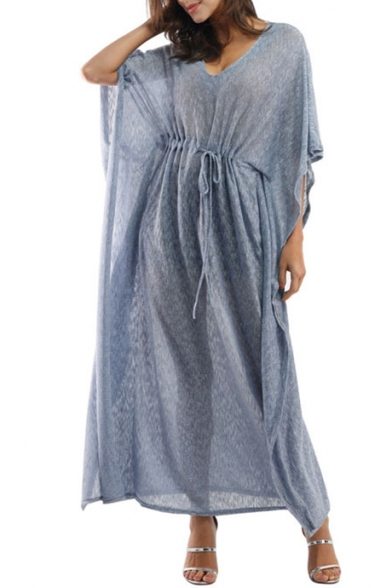 Fashionable Sleeve Batwing Waist Dress Plain V Drawstring Neck BpBrnSPHwq